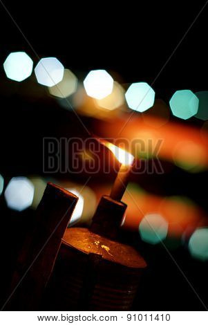Light of lantern lamp with bokeh blur background