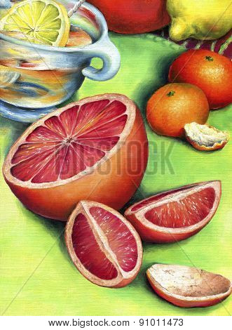 Grapefruit, lemon tea and two mandarin.