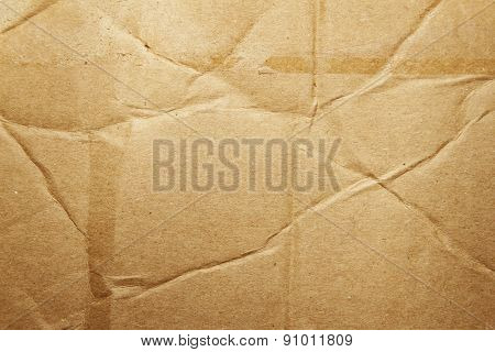 Closeup of brown cardboard texture