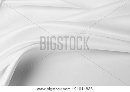 Closeup of rippled satin silk fabric