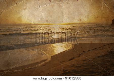 beautiful beach, Ocean water with waves. Sea shore