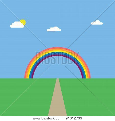 Background Landscape Of Green Nature With Road And Rainbow Vector Illustration