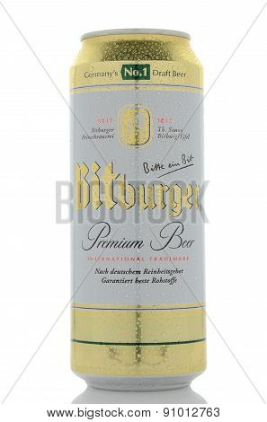 Bitburger premium beer isolated on white background