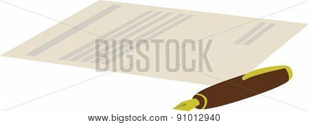 cartoon illustration of pen with contract on white