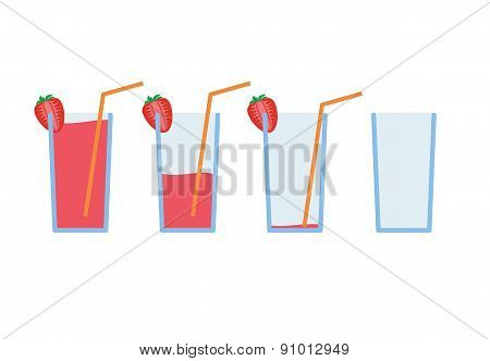 Set of red strawberry coctail drink with orange straw in stages from full to empty