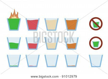 illustration of alcohol shot drink in glass phase from full to empty