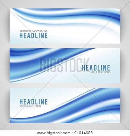 Abstract blue wave isolated on white background