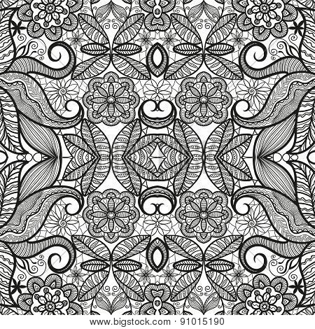 Black and white seamless pattern tribal ethnic ornament. Vector geometric background.