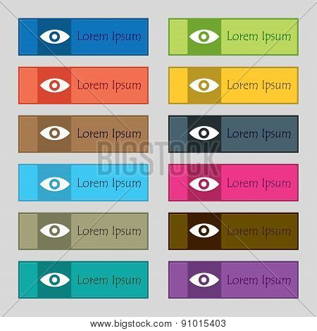 Eye, Publish Content, Sixth Sense, Intuition  Icon Sign. Set Of Twelve Rectangular, Colorful Buttons