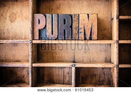 Purim Concept Wooden Letterpress Theme
