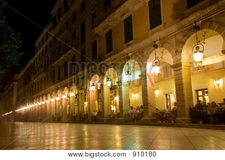 Liston Street At Night On Corfu Island