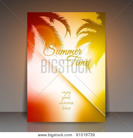 Summer Time Vector Flyer Background | Palm Tree Sunset