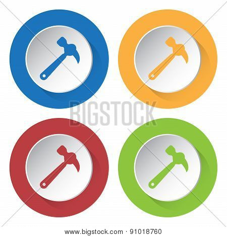 Set Of Four Icons - Claw Hammer