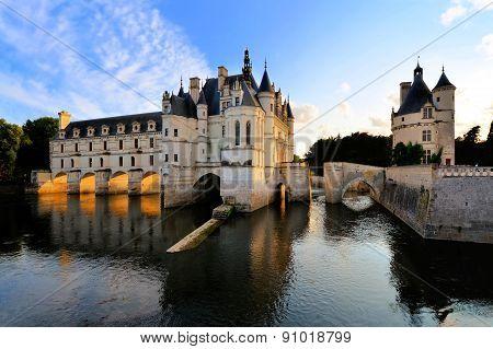 Chateau de Chenonceau at sunset, Loire, France