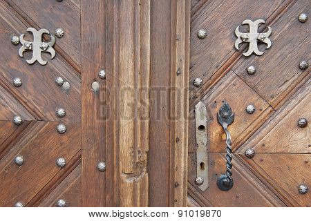Exterior of the old wooden door in Vilnius, Lithuania.