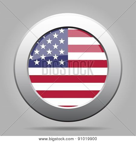 Metal Button With Usa Flag