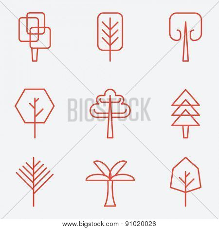 Tree icons, flat design, thin line style