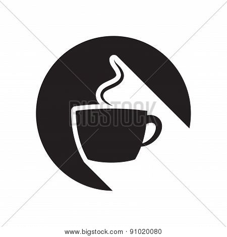 Black Icon With Cup And Stylized Shadow