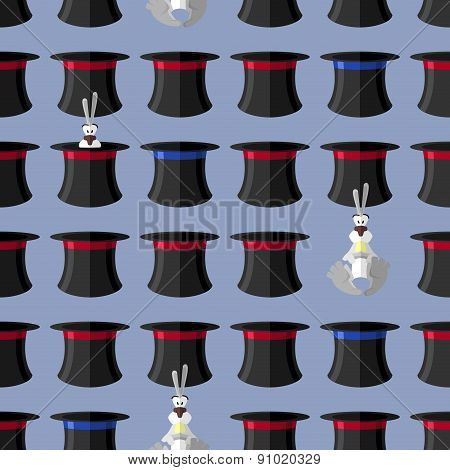 Rabbit In Hat Seamless Pattern. Vector Background For Magical Presentation. Magician Attributes