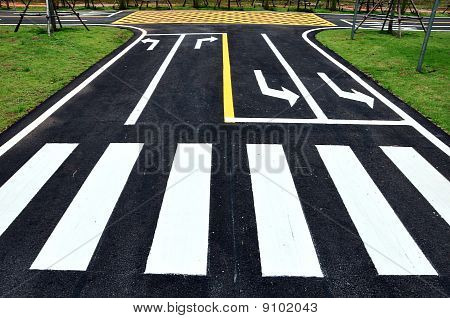 Zebra And Turn Arrow Traffic Symbol