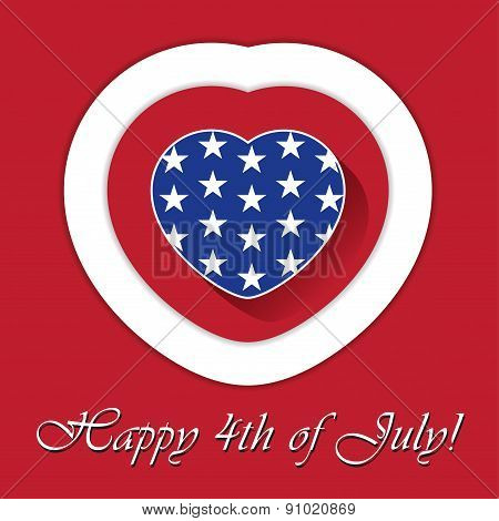 4Th Of July Card With Heart And Contours