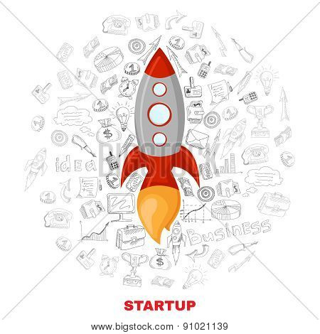 Business startup launch concept poster print