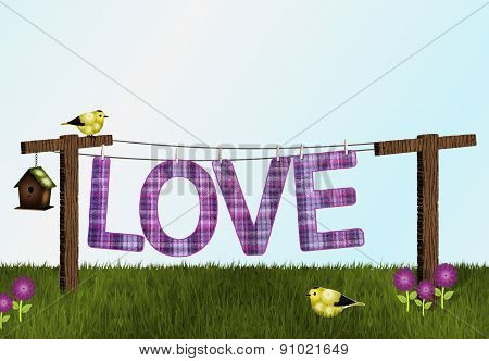 Love on Clothesline with Goldfinches Background