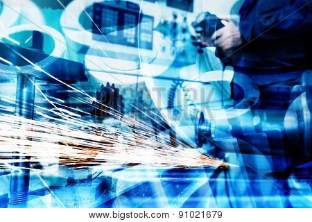 Industrial technology abstract background. Modern industry, machines.