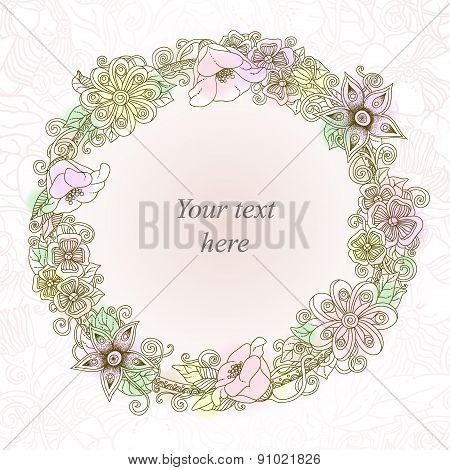 Vector floral card, hand drawn retro flowers and leaves in circle