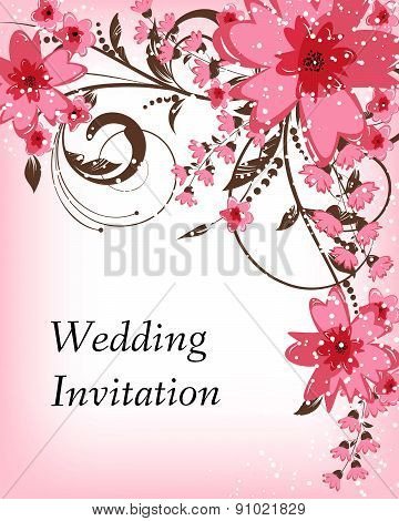 Wedding Invitation Card. Flowers Abstract Colorful Background. Romantic Flower Background With Place