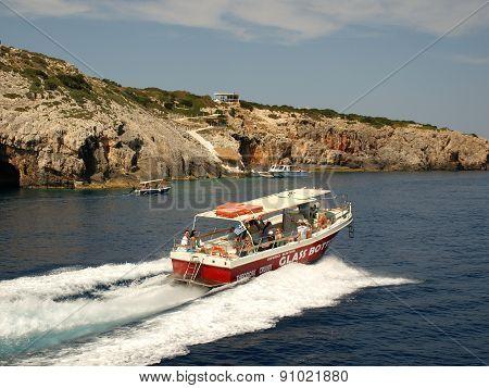 Motor boat at the island of Zakynthos.