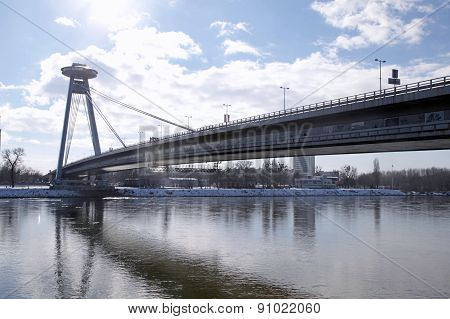 The Novy Most Bridge, Danube River In Bratislava, Slovakia.