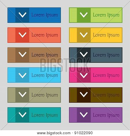 Arrow Down, Download, Load, Backup  Icon Sign. Set Of Twelve Rectangular, Colorful, Beautiful, High-