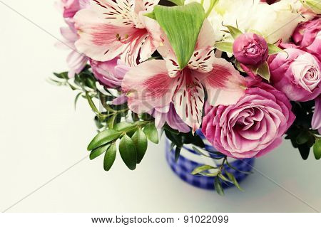 Beautiful Pink Bouquet With Astrantia, Fresia, Rose, Ranunculus