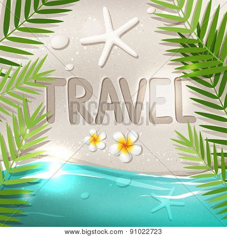 Travel Word On Tropical Beach