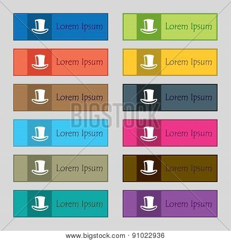 Cylinder Hat  Icon Sign. Set Of Twelve Rectangular, Colorful, Beautiful, High-quality Buttons For Th