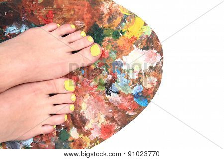 Women Feet And Colors (pedicure Background)