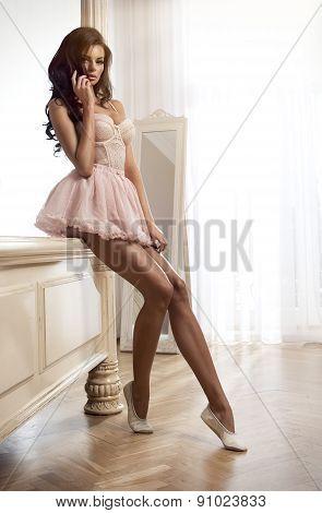 Beauty Brunette Woman In Stylish Room