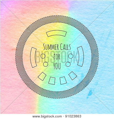 Summer stamp watercolor