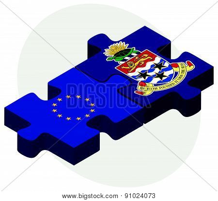 European Union And Cayman Islands Flags In Puzzle