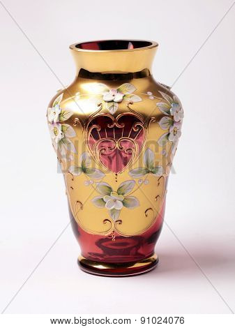 Empty Red And Gold Ornate Glass Vase