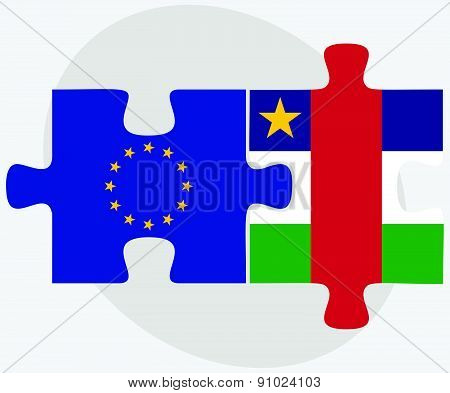 European Union And Central African Republic Flags In Puzzle