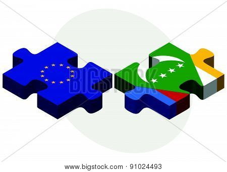 European Union And Comoros Flags In Puzzle