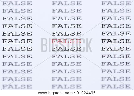 The word 'False' surrounded by similar text