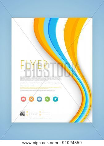 Beautiful business flyer, template or brochure design decorated with colorful waves.