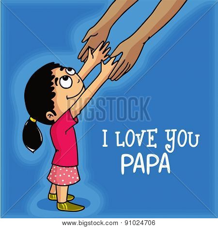 Cute little girl holding his father hand, showing love towards her father and stylish text I Love You Papa, Happy fathers day celebrations concept.