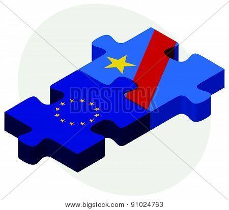 European Union And Democratic Republic Congo Flags In Puzzle