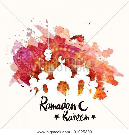 Beautiful mosque, made by colors splash for Islamic holy month of prayers, Ramadan Kareem celebrations.