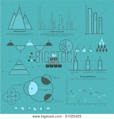 Various business infographics elements including charts, statistical bars and graphs for corporate purpose.