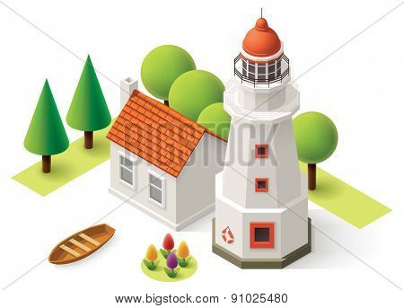 Isometric lighthouse building with small house